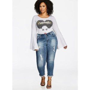 Seven7 Sequin Inset Skinny Ankle Jeans 22W